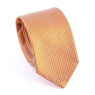 WOVEN SILK TIE ORANGE/WHITE