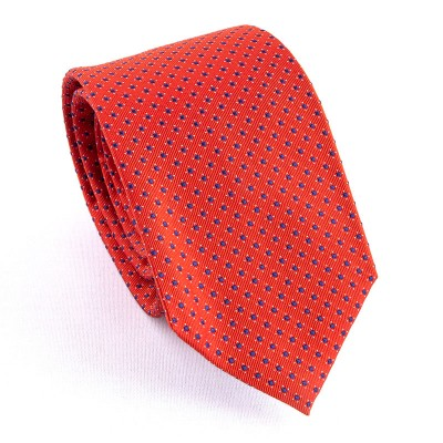 WOVEN SILK TIE ORANGE WITH LITTLE BLUE SQUARES