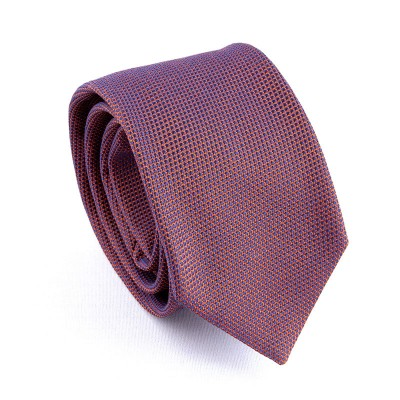 WOVEN SILK TIE ORANGE/BLUE
