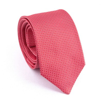 WOVEN SILK TIE RED WITH WHITE RECTANGLE