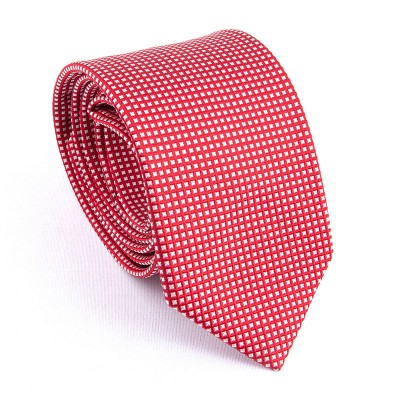 WOVEN SILK TIE RED WITH WHITE SQUARES