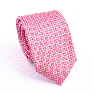 WOVEN SILK TIE PINK WHITE SQUARES