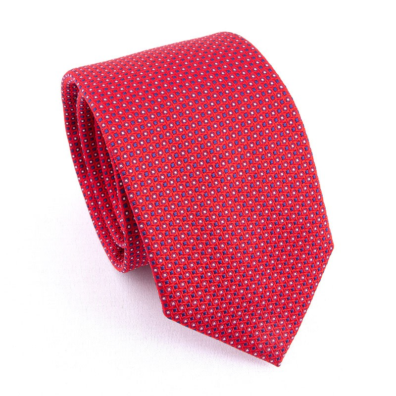WOVEN SILK TIE RED WITH BLUE CIRCLES & SQUARES