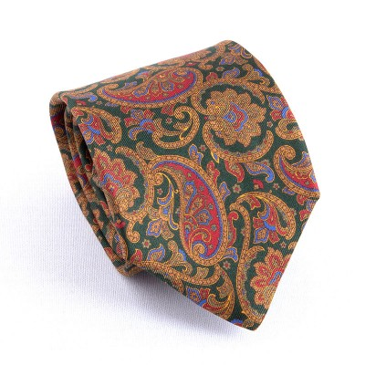 MADDER TIE GREEN CASHMERE GOLD/RED