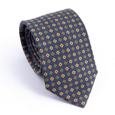 MADDER TIE NAVY AND YELLOW/GREEN FLOWERS