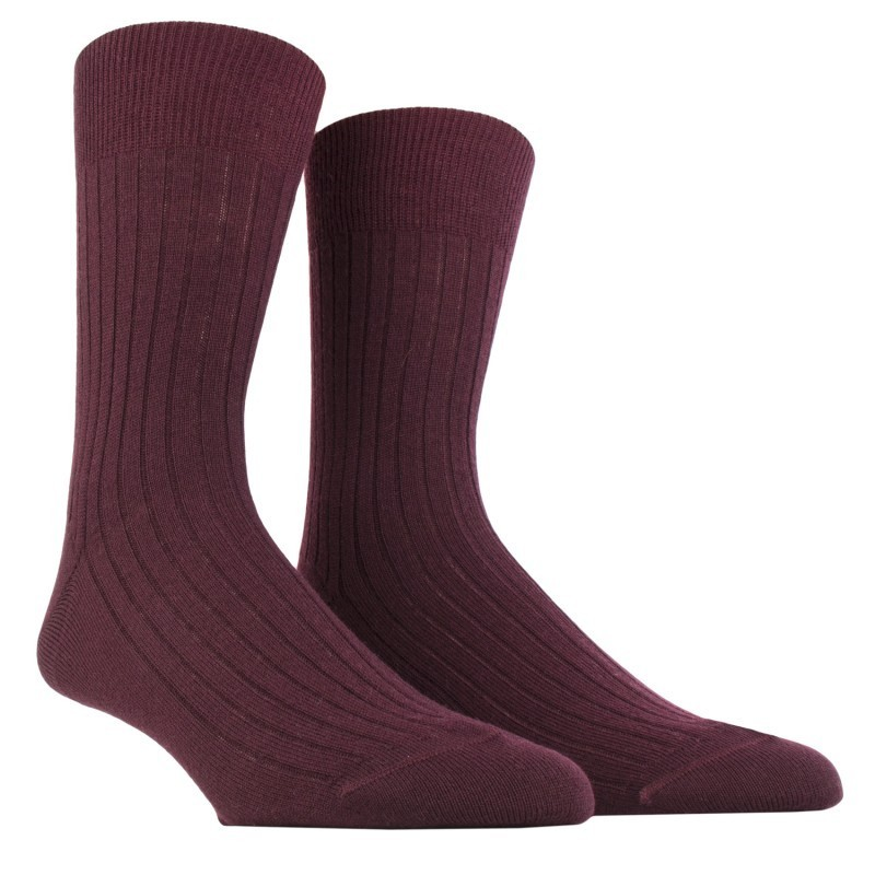 MID SOCK, REINFORCED WOOL WITH RIBS